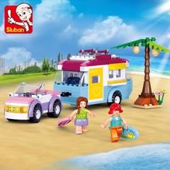 Đồ Chơi Girl - Bộ Lắp Ráp Xe Cắm Trại Bãi Biển Sluban 281PCS